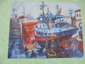 名家手绘油画《船坞》