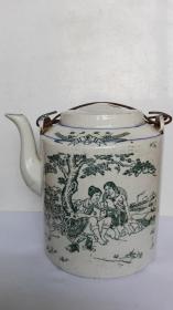 文革藏品;广阔天地、大有作为---文字、人物画大茶壶