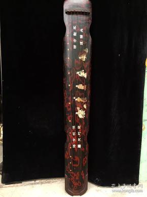 镶玉古琴,尺寸123x20x9.8厘米