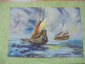 名家手绘油画《风帆》