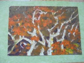 名家手绘油画《欢快秋林》