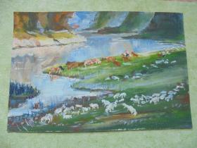 名家手绘油画《夕照湖畔》
