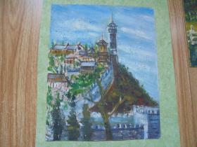 名家手绘油画《蓬莱阁》