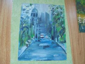 名家手绘油画《雨中的街头》