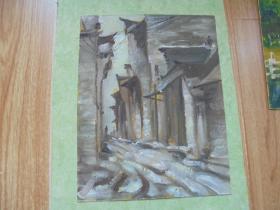 名家手绘油画《老街》