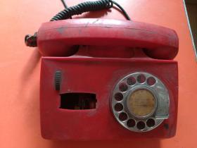 老式拨号电话机(红色) 怀旧老物件 约重1.2公斤 实物拍摄