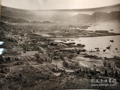 民国香港英国皇家空军鸟瞰九龙深水埗荔枝角一带老新闻照片一张