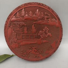 剔红浮雕漆器盒,宽20公分,高8公分
