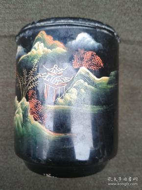 老漆器山水畫盒