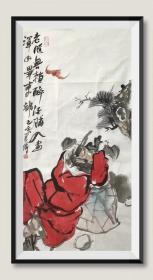 【精品人物畫 保真】【強烈推薦】曹建濤/藝名老五,獨具特色的水墨人物畫家,1975年生于山東鄆城,山東省美術家協會會員,中華收藏家協會會員,齊魯書院特邀畫家。佛自人來,禪在妙悟。他的畫筆之下充滿著智慧與機趣的禪意。人物畫作品7《鐘馗醉酒》(90×48cm)