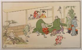 套色木版浮世绘之二:喜多川歌麿绘《狮子舞の图》(大正初期·尺寸29.5×18.3厘米·单页1张)