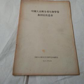 中国大百科全书生物学卷条目层次总表