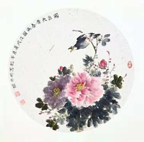 花卉国画原画(卡宣,可直接装框)