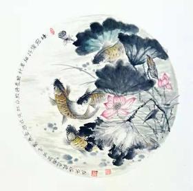 鱼戏莲花国画原画(卡宣,可直接装框)