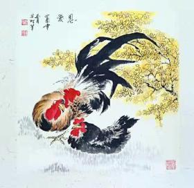"""禽鸟""""恩爱""""国画原画(卡宣,可直接装框)"""