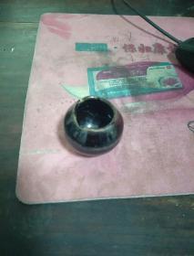 清代黑釉鸟食小瓷罐
