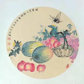 瓜果蝴蝶国画原画(卡宣,可直接装框)