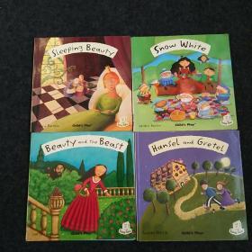 英文原版趣味翻翻书:Flip-Up Fairy Tales:Snow White、Beavty and the Beast、Sleeping Beavty、Hansel and Gertel【4本合售】