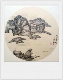 水墨山水画原画(卡宣,可直接装框)