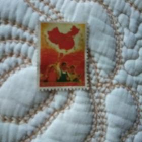 复古邮票 一片红  立版斜杠 白底