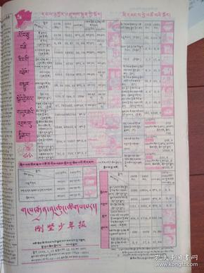刚坚少年报(藏文)1993年1月15日粉色,改革开放新成就,全国惟一的藏文少年报,少见