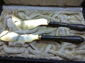 西洋 欧洲古董 餐具 银器 刀叉 一副 原配盒子 柄是银的