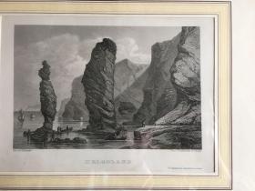 欧洲版画 黑尔戈兰岛风景 外框尺寸35*30cm