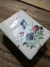 民国时期贴花方形印泥盒  完整一套