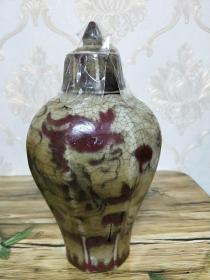 老瓷器,八棱龙纹瓶,开片釉里红龙纹盖瓶花瓶,年代仅代表个人观点,仅供参考。不做任何承诺,支持鉴定,拍友自鉴