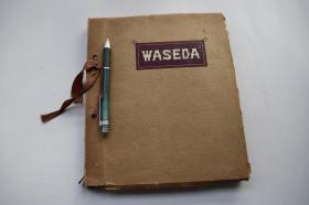 """WASEDA【日本早稻田大学学生老照片。拍摄于1926年。原相册。封面题:""""WASEDA""""。一册。内收照片54枚。照片大小尺寸不一。相册尺寸:24*20.3*1.3cm。早稻田大学(Waseda University),简称早大。是一所位于日本东京都新宿区的世界著名研究型综合大学 。1882年,伴随着"""