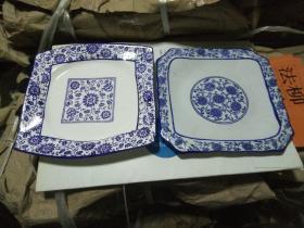 日本青花盘一对 仿中国缠枝莲图案 保真 过年了实用收藏两相宜