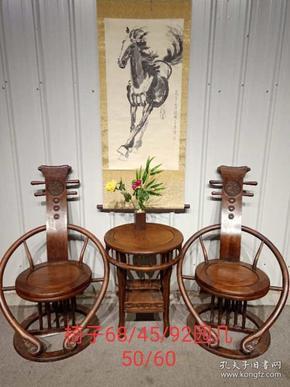 花梨木琵琶椅三件套一套做工精细,样子漂亮,尺寸品相见图
