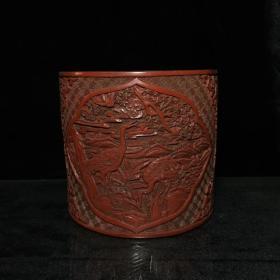 清乾隆款漆器漆雕鹤纹笔筒 14.5X15.5