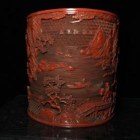 清乾隆款漆器漆雕听松观瀑图笔筒 26.5X26.5