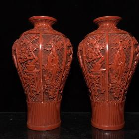 清乾隆款漆器漆雕博古纹梅瓶  28.5X15.5