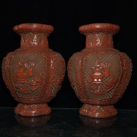 清乾隆款漆器漆雕博古纹扁瓶 27.5X19