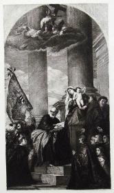 """""""提香 Titian""""名画1888年意大利艺术珍品系列《佩萨罗家族的圣母》—意大利文艺复兴时期画家""""维切里奥·提香(Vecellio Titian 1490-1576)""""作品"""