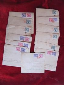 1950年上海商行英文发票13枚(贴49税票20枚)