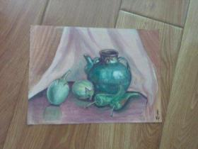 水彩画文献  著名水彩画家朱辉早期画作  静物之一