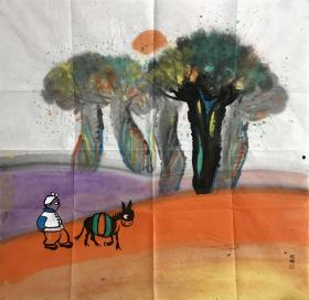 【强烈推荐名家作品】【真迹】【杨妮娜】中国美术家协会会员,国家一级美术师,中国工笔画学会会员,陕西省美术家协会会员, 延安美术家协会理事。延安中国画学会副会长,延安鲁艺书画院副院长。极具陕北地区丰富多彩的民俗文化和民族风情的作品。斗方4(68×68cm)