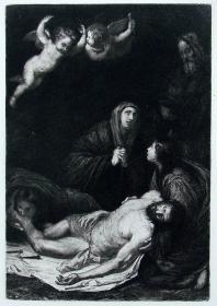 """""""里贝拉 Ribera""""名画1888年意大利艺术珍品系列《基督下架》—西班牙画家""""何塞·德·里贝拉(Jusepe de Ribera,1591-1652年)""""作品"""