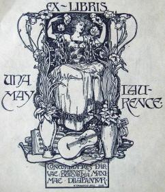 """""""新艺术名作""""英国艺术家""""H. Granville Fell """"仕女藏书票 —《女子鲜花与吉他》 1898"""