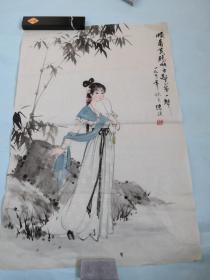 央美术学院国画教授陈谋精品仕女画一幅
