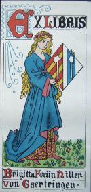 """德国艺术家""""Max Esterle """"早期石板彩色藏书票 —《草地上的女人》 1898"""