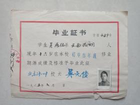 北京二十八中畢業證書 校長吳元俊