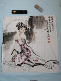 著名画家薛林兴仕女画一张