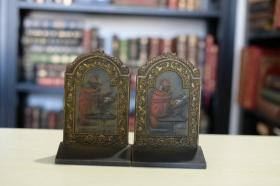 书立一对 《阅读的阿拉伯学者》 大约 20世纪 20 年代铸造 漂亮的书房摆件 收藏精品