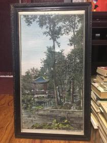 西湖三角亭 中国杭州都锦生丝织厂制(尺寸81*43cm)老刺绣