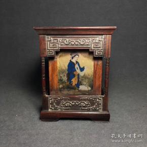 民國老木雕紅酸枝木鑲嵌瓷板四大美女筆筒一個  高14.5厘米·包漿好,無磕碰,