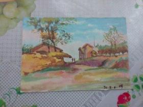 水彩画文献  著名水彩画家朱辉早期习作  70年代作品之三  时间为74年8月